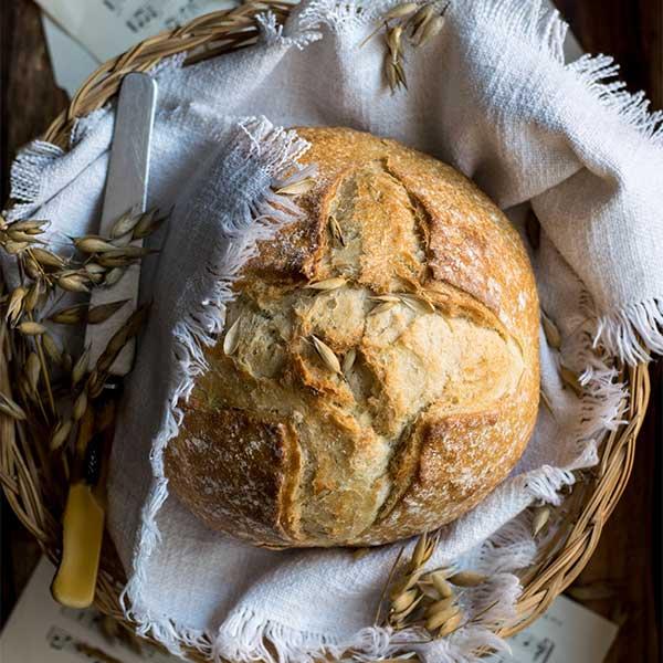 rustic baked bread in a bread basket