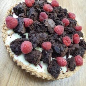 Raspberry, white chocolate brownie