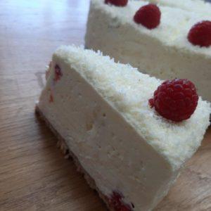 White Chocolate Raspberry Cake Slice